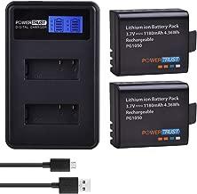 PowerTrust 2Pcs 1180mAh PG1050 Battery Akku and LCD Dual USB Charger for EKEN H9 H9 H3 H9R H8PRO H8R H8 pro SJ4000 SJCAM SJ5000 M10 Camera Batteries