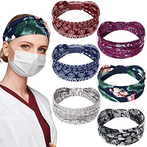 6 Pieces Nursing Headbands with Buttons for Nurses Doctor Women Boho Bandana Headbands Wide Stretch Head Wraps Elastic Hair Bands for Face Covering Holder Ear Protection (Colorful Pattern)