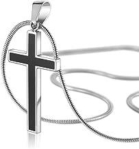 COAI Unisex Titanium Steel Black Cross Pendant Necklace
