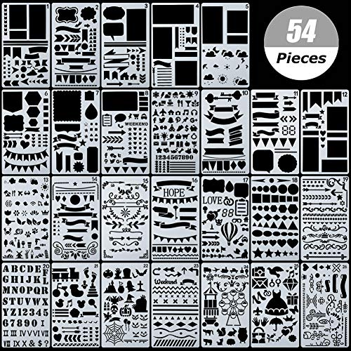 54 Stück Bullet Schablonen-Set, Journal Planer Schablonen für Notizbuch, Tagebuch, DIY Scrapbook, inklusive Briefschablone, Zahlenschablonen
