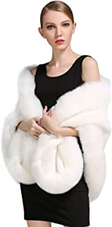 Women's Party Faux Fox Fur Long Shawl Cloak Cape Coat-S64(More Colors)