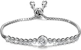 NINASUN Women Christmas Bracelet Gifts The Little Mermaid Sterling Silver Bracelet Women Adjustable Chain Bracelet with Sparkling Aaaaa Cubic Zirconia Allergy for Hypoallergenic Material with Gift Box