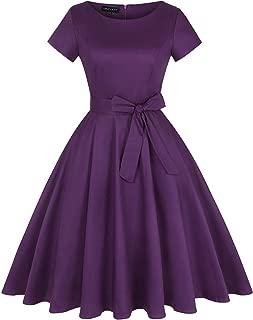 MINTLIMIT Women Vintage 50s Dresses Floral Audrey Hepburn Bowknot Tea Dress with Pockets(Solid Purple,Size 2XL)