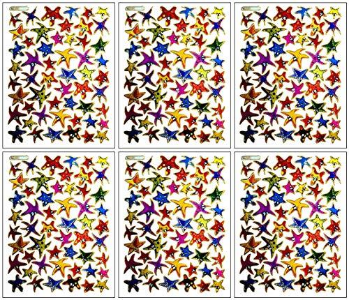 PARITA Stickers Glitter Cute Colorful Starfish Cartoon Waterproof Label Sticker Art Decals Crafts Scrapbook for Kids Teachers Boys Girls Teens Adults (Pack 6 Sheets.) (14)