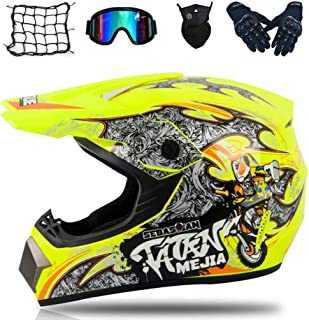 IKHNGLE Motocross Helmets, Adult Off-Road Helmet Kits/Off-Road Helmets with Goggles/Gloves/Masks/Motorcycle net, Motorcycle Off-Road Crash Helmet Protective Gear,Yellow