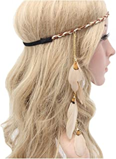 Feather Headband Hippie Indian Boho Hair Bands Tassel Bohemian Halloween Hair Hoop Women Girls Crown Hairband Party Decoration Headdress Cosplay Costume Headwear Headpiece Hair Accessories Khaki