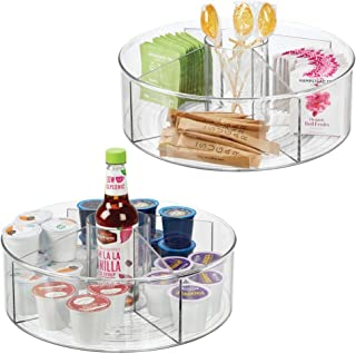 mDesign Deep Lazy Susan Turntable Storage Food Bin Container with Cup - Divided Spinning Organizer - 5 Sections - for Kitchen Cabinets, Pantry, Refrigerator, Countertops; 11.5