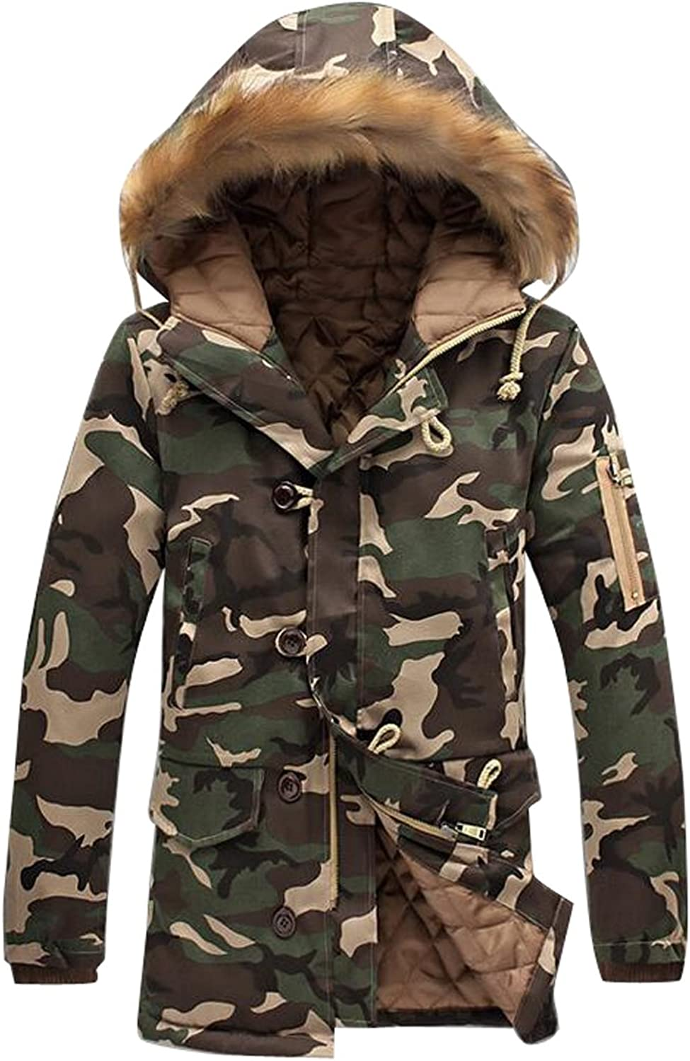 a1499adf21a SYTX Mens Winter Warm Camo Faux Faux Faux Fur Hoodie Quilted Jacket Coat  Outwear 817e61