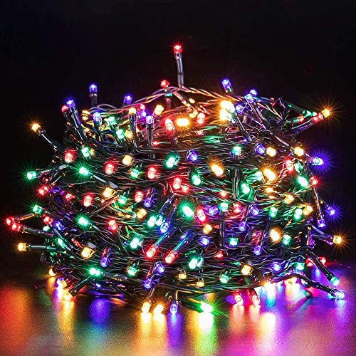 Quntis LED Christmas String Lights - Outdoor Indoor 132FT 300 LEDs Fairy String Lights Battery Operated Decoration Twinkle Lights with Timer for Home Garden Tree Wedding Party Valentines Day, Colorful