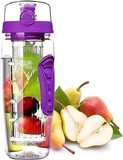 New_Soul 1000 ML Frutas Botella Agua Infusor de Esencia de Frutas Reutilizable 100% BPA Free Tritan Plastico Gimnasio, Oficina Corriendo Senderismo Acampar Incluye un Cepillo de Limpieza