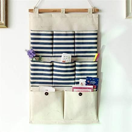 KANGJIABAOBAO Storage hanging bag Storage Hanging Bag Cotton And Linen Art Striped Waterproof Pocket Wall-mounted Storage Bag Multi-layer Wall Hanging Bag Door Hanging Organizer