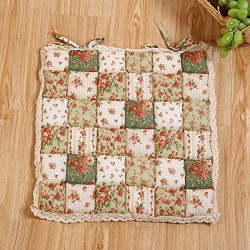 Almohadillas para silla, cuadradas para atar el asiento del patio, comedor, jardín, silla de cocina, cojín, 40 cm x 40 cm Tamaño libre verde