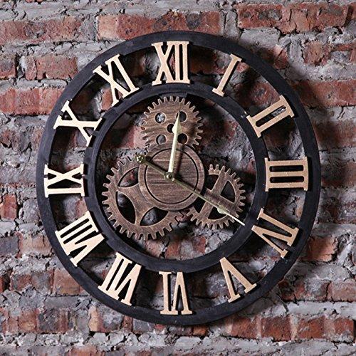 LF Retro Wanduhr Loft Industrial Style römische Ziffer Getriebe Wandhalterung Uhr für Wohnzimmer, Cafe (19,5 * 0,6 * 19,5 Zoll) (Color : Gold)