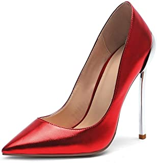 Solid Color Sexy High Heels For Banquet Wedding Dress Daily (Color : Red, Size : 35)
