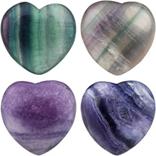 rockcloud Healing Crystal Fluorite Heart Love Carved Palm Worry Stone Chakra Reiki Balancing 0.8