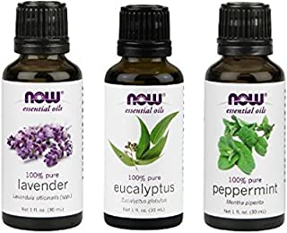 3-Pack Variety of NOW Essential Oils: Pure & Natural Blend - Lavender, Eucalyptus, Peppermint