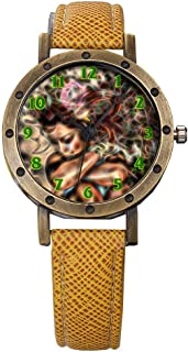 GIRLSIGHT Brand Retro Bronze Vintage Leather Strap Watches Ladies Girl Quartz Watch Abstract Flowers 644.Woman, Nature, Crown, Ivy, Pretty, Mystical, Flowers