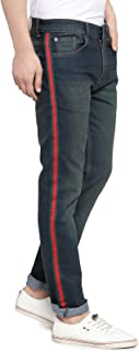 Ben Martin Men's Slim fit Designer Jeans -(BM-TAPE-3GREEN-RED-GRN)
