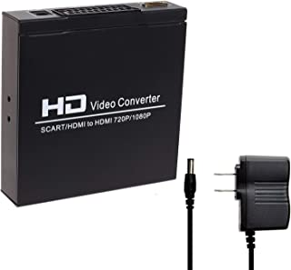 VCANDO SCART to HDMI Converter Video Audio Adapter Box with SCART/HD Switch, PAL/NTSC Video Scaler, 1080P/720P