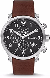 Escape Men's Lukla 44MM Chronograph Silver Case on Brown Leather Strap Watch