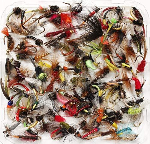 Caja con moscas para pesca de trucha, variadas, húmedas y seca, ninfas...