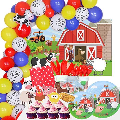 248-teiliges Partyzubehör-Set mit Bauernhoftieren, Party-Dekorationsset, Scheune, Geburtstagsparty, Luftballons, Kulissen, Geschirr, Teller, Becher, Servietten, Besteck für Kinder