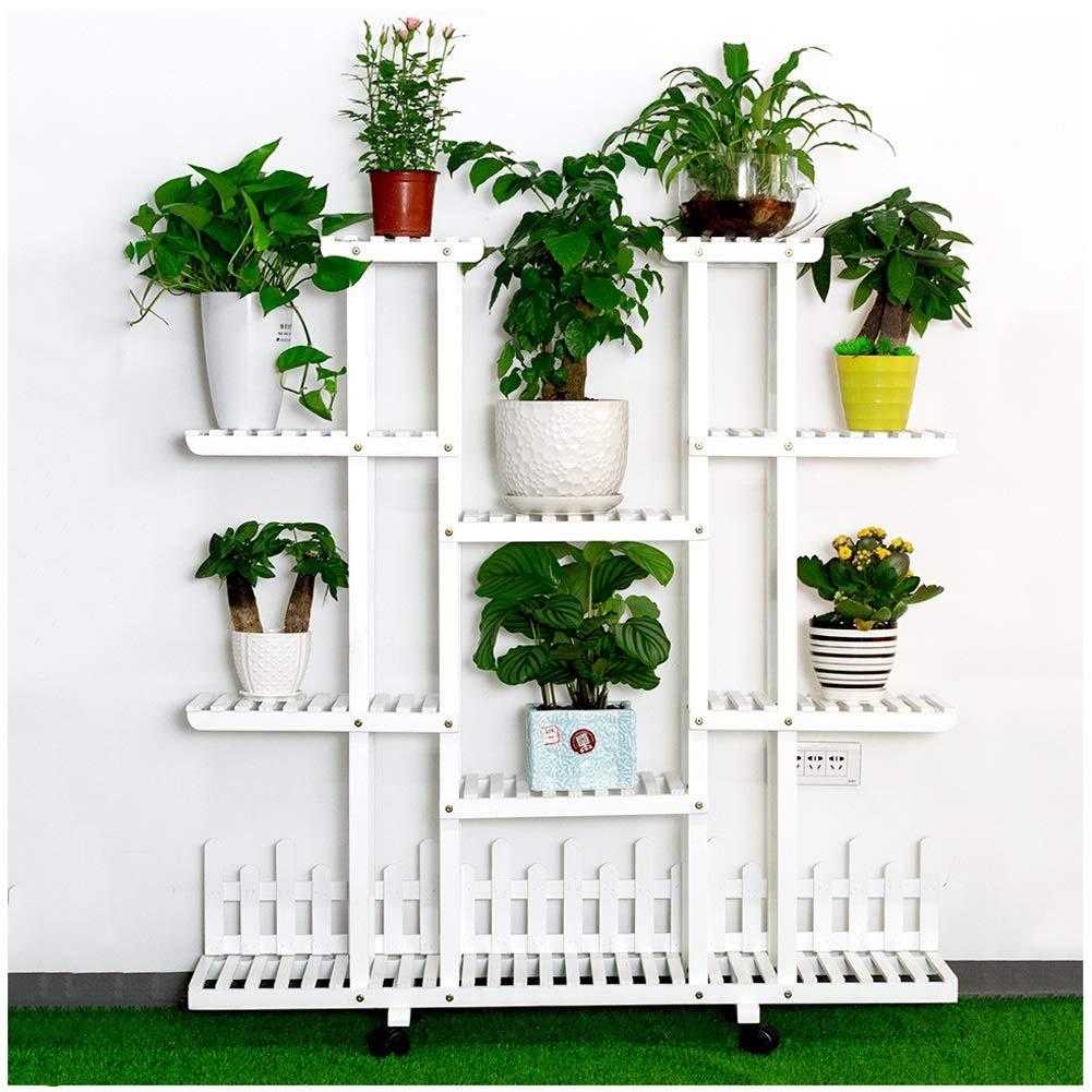 IDWOI Estantería para Plantas Soporte Macetas Soporte para Flores De Madera Interior Escalera para Flores con Ruedas Exterior Decoración: Amazon.es: Hogar