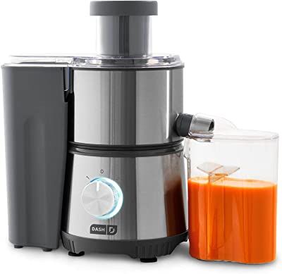 """Dash Compact Centrifugal Juicer, Easy Clean Extractor Press Juicing Machine, 2-Speed, Wide 2"""" Feed Chute for Whole Fruit Vegetable, Anti-drip, Stainless Steel Sieve - Cool Grey"""