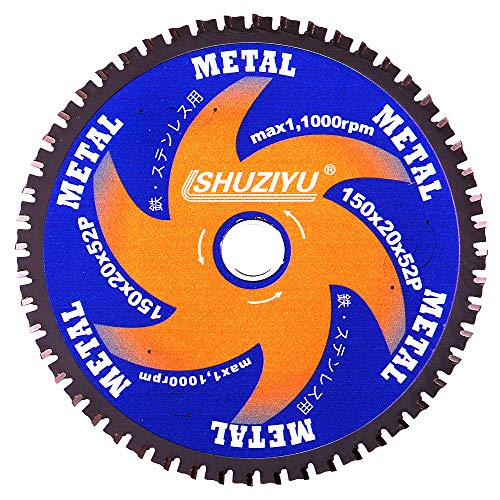 LSHUZIYU 150mm-52T, Metal Working Circular Saw Blade, Centre Hole 20mm with 15.88mm Washer, for Fit on Makita or Milwaukee Cordless Saw, Metal, Steel Iron Bar, Sheet, Angle Cutting