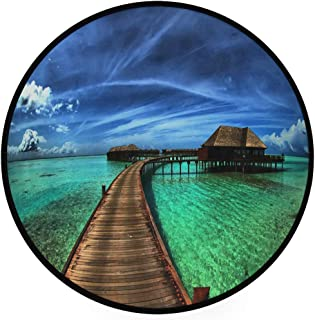 YOLIKA Home Decor Light Round Area Rug, Seaside Holiday Villa Sky ,Super Soft Circle Carpet (5'3