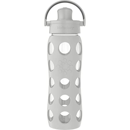 Lifefactory 22-Ounce Active Flip Cap Glass Water Bottle, 22oz, Cool Grey
