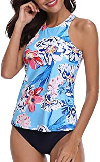 Tootu Women Plus Size Two Piece Sexy Backless Halter Floral Printed Swimwear Set