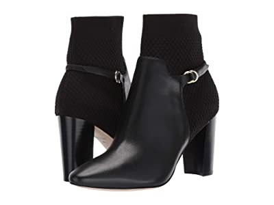 Cole Haan Camille Bootie 85 mm (Black Leather/Tonal Knit/Black Stack) Women