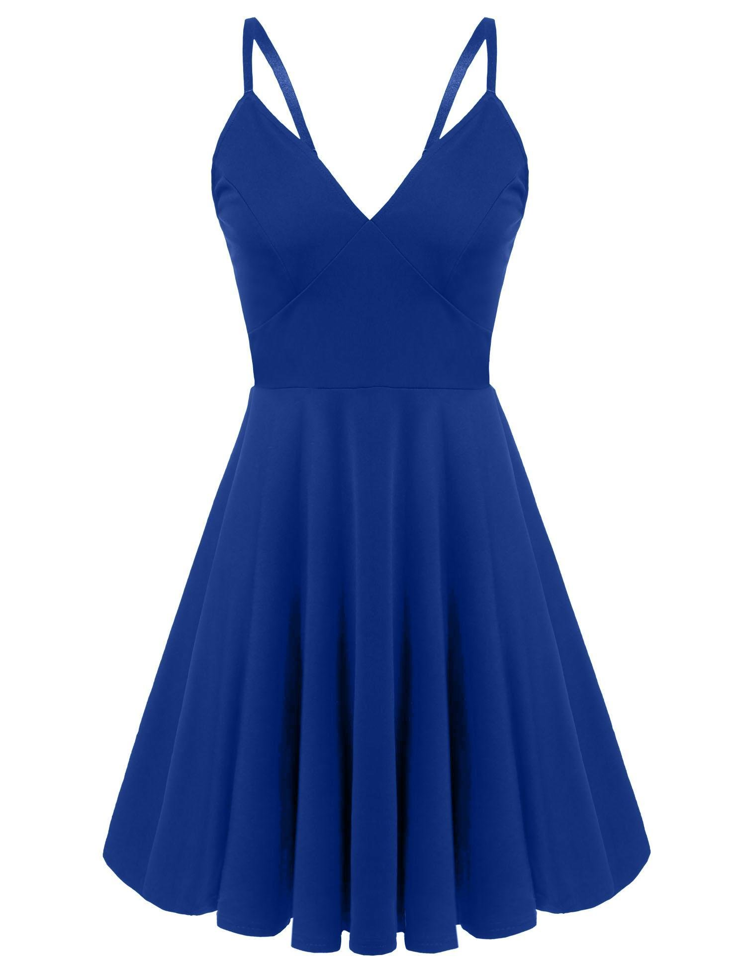 Available at Amazon: ELESOL Women Sexy Deep V-Neck Backless Spaghetti Strap Skater Dress