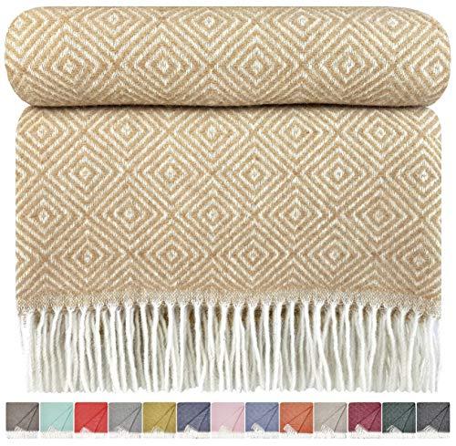 STTS International Wolldecke Wohndecke Kuscheldecke Plaid Decke 140x200 cm Wolle Verona (Beige-Weiß)