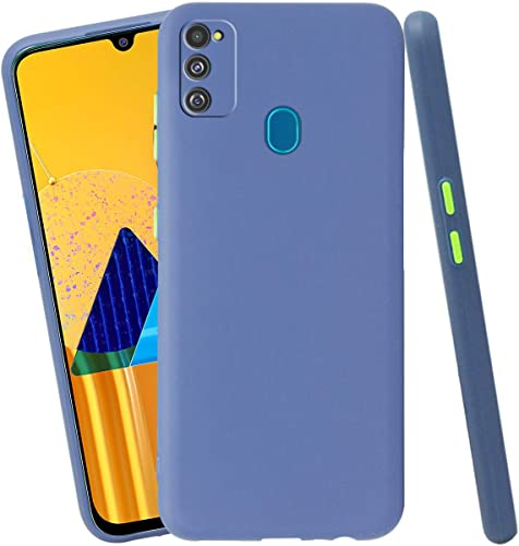 Jkobi Soft Silicon Camera Protection Back Cover Case For Samaung Galaxy M30s Samaung Galaxy M21 With Color Highligted Smoke Buttons Blue