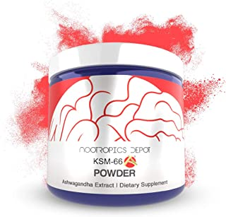 KSM-66 Ashwagandha Powder | 60 Grams | Withania somnifera Extract | Ayurvedic Herb | Adaptogen Supplement | Supports Stress + Promote Relaxation | Increase Energy, Memory + Focus