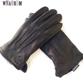New Man Deer Skin Leather Gloves Male Warm Soft Men's Glove Black Three Lines Design Men Mittens Sheep Hair Lining Men's Gloves
