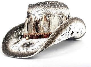 SHENTIANWEI Bohemia Feather Women Straw Hollow Western Cowboy Hat Lady Sombrero Hombre Beach Cowgirl Jazz Sun Hat Size 56-58CM Adjust
