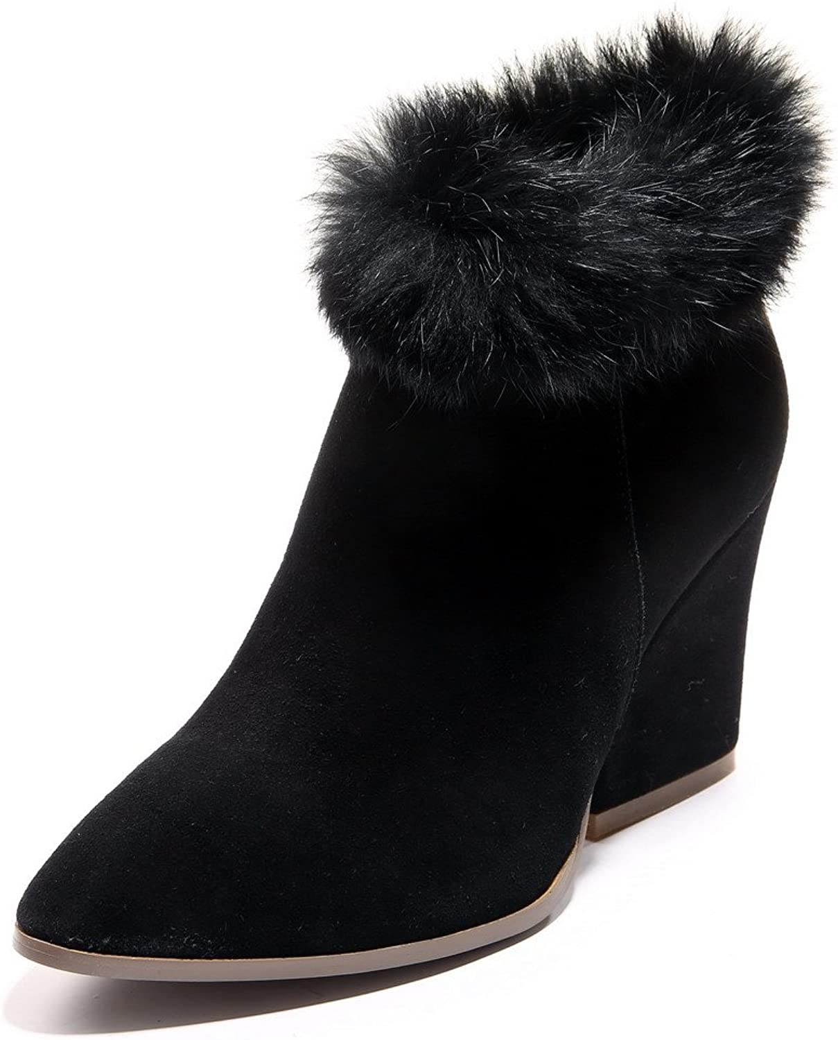 WeenFashion Women's Cow Imitated Suede High-Heels Round-Toe Boots with Slipping Sole and Rough Heels