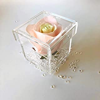 LUGUNU Acrylic Flower Box, Crystal Clear Preserved Rose Flower Display Case 1 Hole,Small Handcrafted Jewelry Gift Box with for Mother's Day, Anniversary, Birthday, Wedding and More