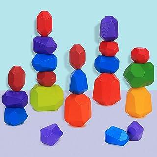 Juguetes de Apilamiento de Madera Piedras de Madera de Colores Equilibrio y Ordenar Montessori niños Juguete Educativo Blo...
