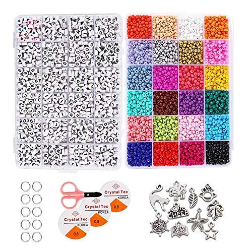 N/A/a Cuentas de Semillas de Vidrio de 4mm Kit de Cuentas Sueltas de 24 Colores, Cuentas de Collar de Pulsera con Caja de Almacenamiento de plástico de 24