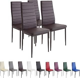 Albatros Milano - Juego de 4 sillas de comedor, estructura de metal y cuero sintético, estilo italiano, marrón (2554)