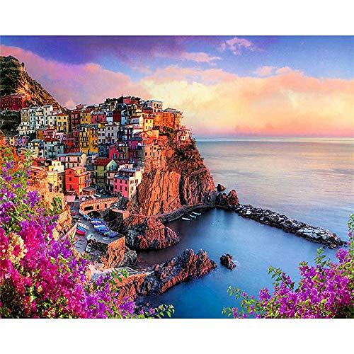 Pintura por nmeros sobre lienzo, kit de bricolaje para adultos, dibujo de paisaje, pintura acrlica, imagen al leo de colorear por nmeros, arte A2, 60x75cm