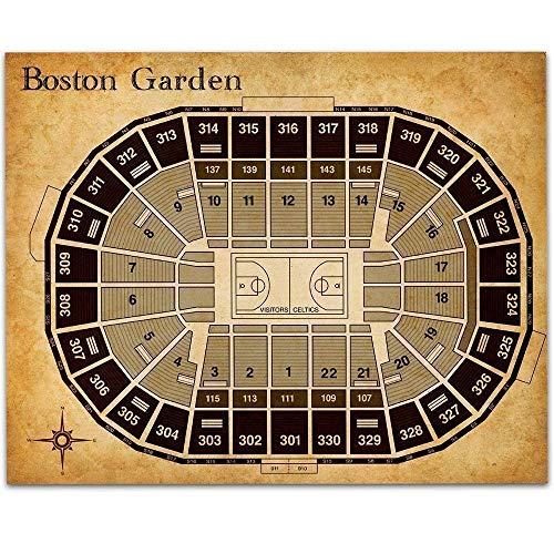 Boston Garden Basketball Seating Chart - 11x14 Unframed Art Print - Great Sports Bar Decor and Gift Under $15 for Celtics Fans