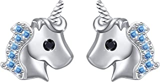 Yearace 925 Sterling Silver Hypoallergenic Cute Cz Unicorn Stud Earrings Jewelry for Women Girls (Nickel Free)