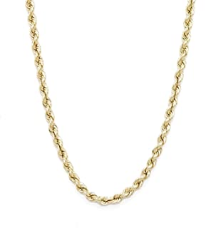 Floreo 10k Yellow Gold Hollow Rope Chain Necklace with Lobster Claw Clasp for Men & Women, 3mm