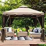 MASTERCANOPY Gazebo 10X10 Patio Rome Gazebo Canopy Soft Top with Mosquito Netting,GH12N12 (Beige)