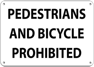 Dreamawsl Safety Industrial Signs - Pedestrians and Bicycles Prohibited Traffic Sign - Tin Metal Sign - 12 x 8 inch